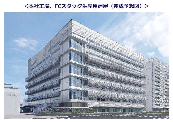 FCV生産に伴い、トヨタ本社の工場敷地内に新しくできるFCスタック生産用建屋の完成予想図。