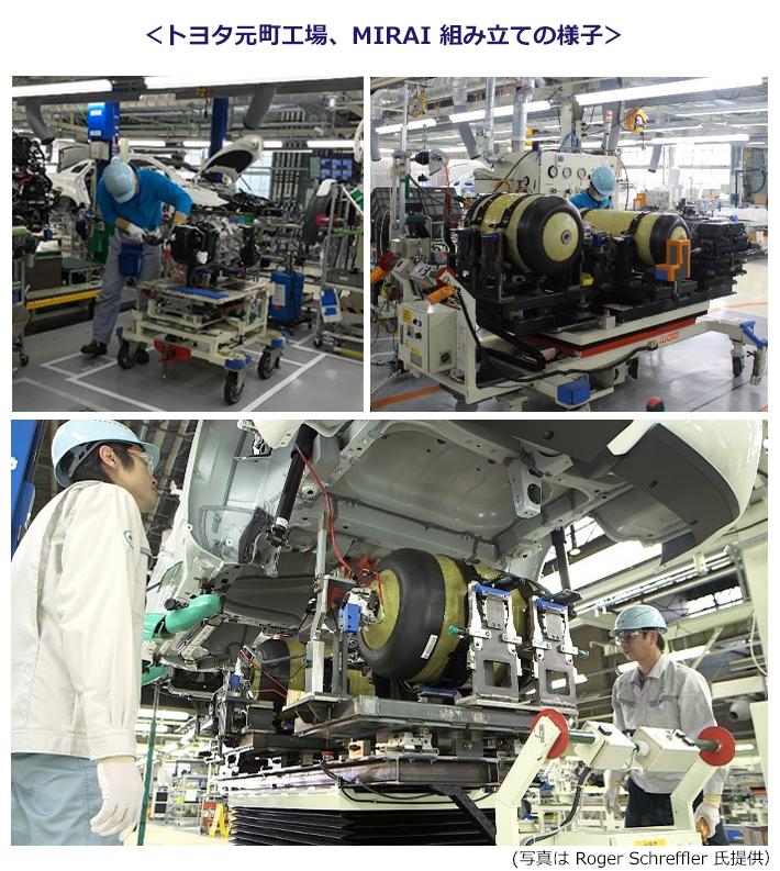 トヨタ MIRAIが生産されている元町工場でのMIRAI組み立ての様子。