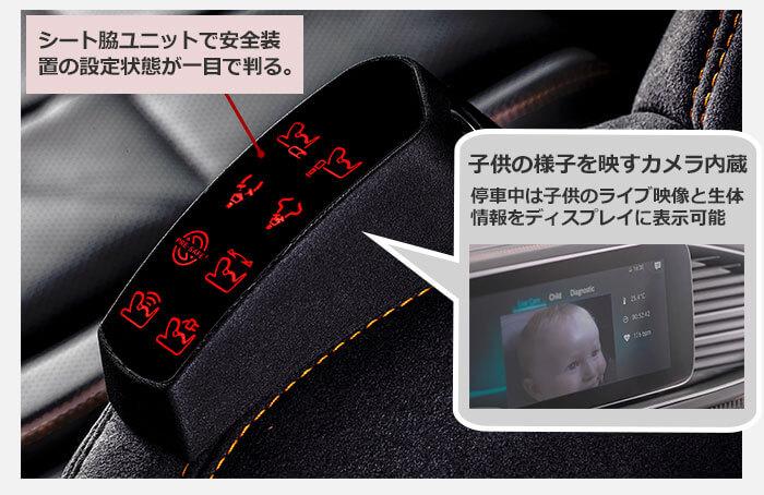 メディアディスプレイ上への情報表示。シート脇ユニットで安全装置の設定状態が一目で判る。