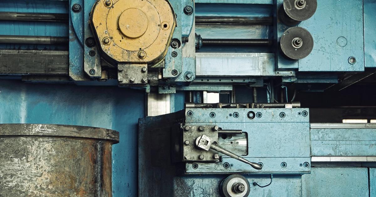 Mechanical engineering.Lathe machine cutting iron taken closeup.
