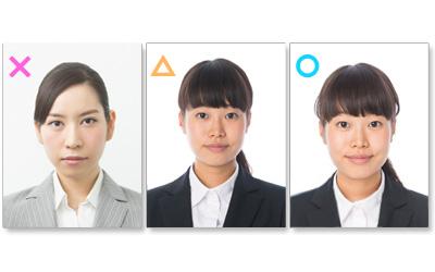 悪い例・3パターン)履歴書用写真の表情・女性