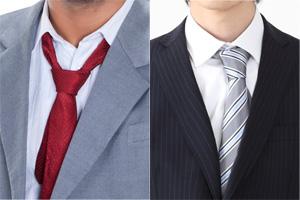 (悪い例)ネクタイが曲がっている履歴書用の写真
