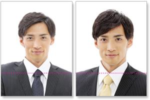 (悪い例)肩の高さが合っていない履歴書用写真