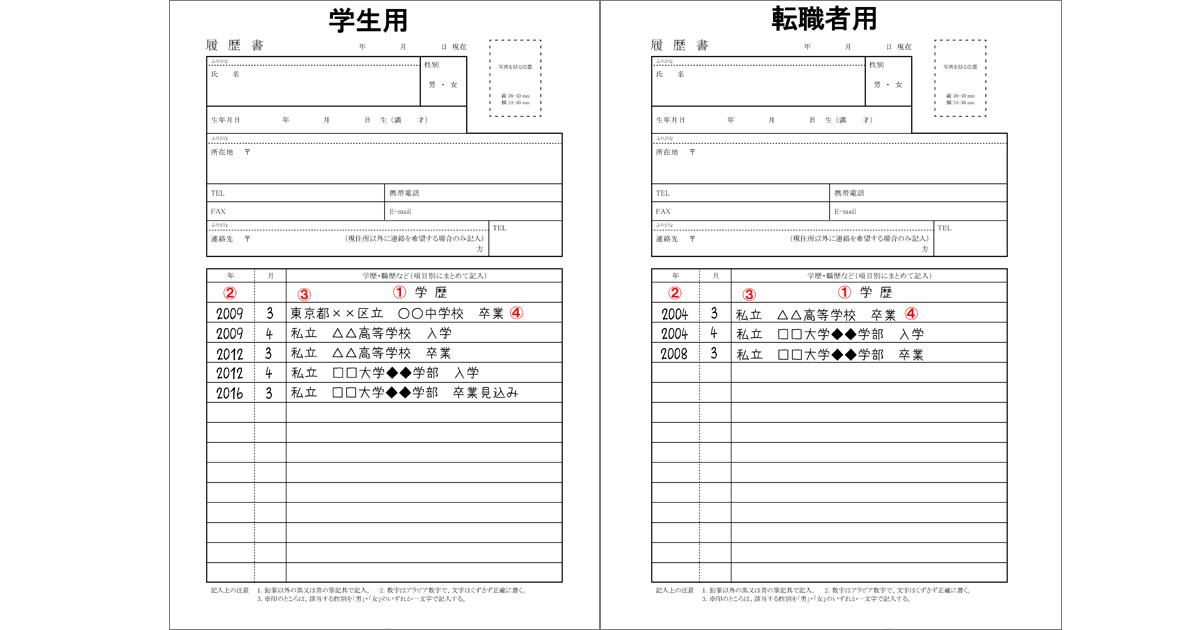 履歴書_学歴(就活生&転職者用)