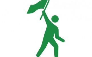 旗を掲げる人のピクトグラム