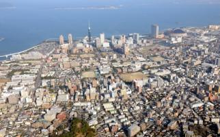 福岡市の航空写真