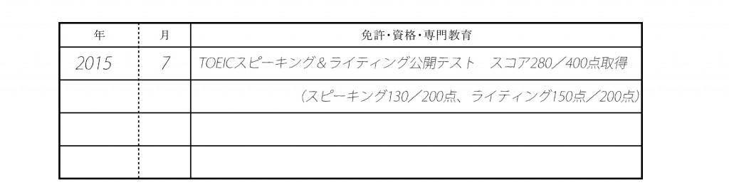 履歴書記入例_TOEICスピーキング&ライティングテスト