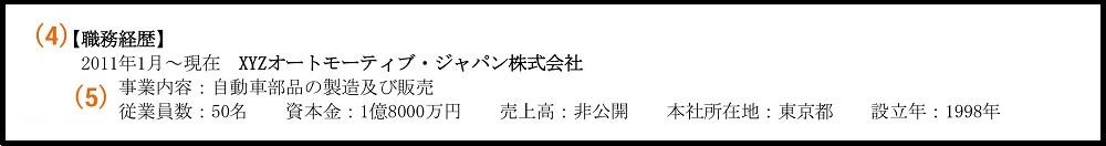 職務経歴書_(4)職務経歴(在籍年月、勤務先名)、(5)勤務先情報