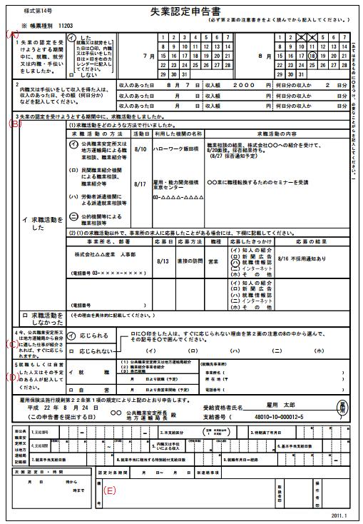 失業認定申告書の見本