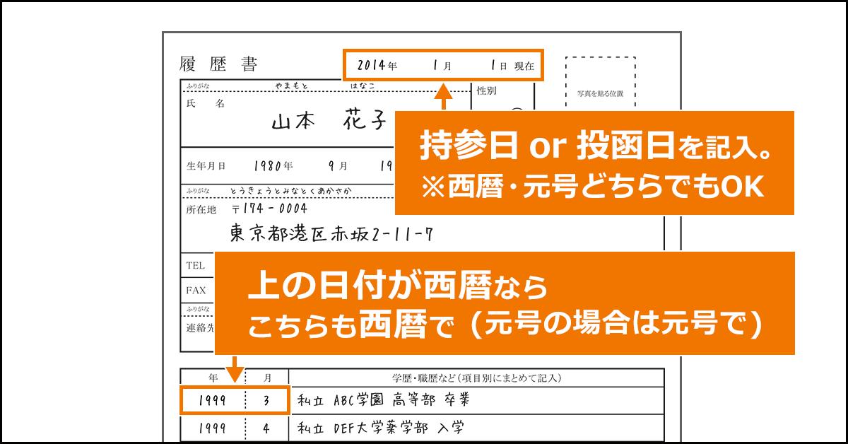 履歴書の日付書き方見本