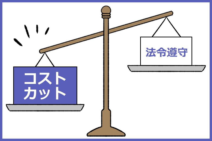 法令遵守とコストカットを天秤にかけたイラスト。コストカットのほうが重くなっている。