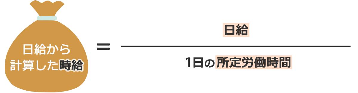 日給から計算した時給=日給/1日の労働時間