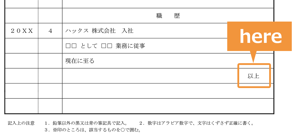 履歴書の学歴・職歴欄での「以上」の位置参考画像(在職中の場合)