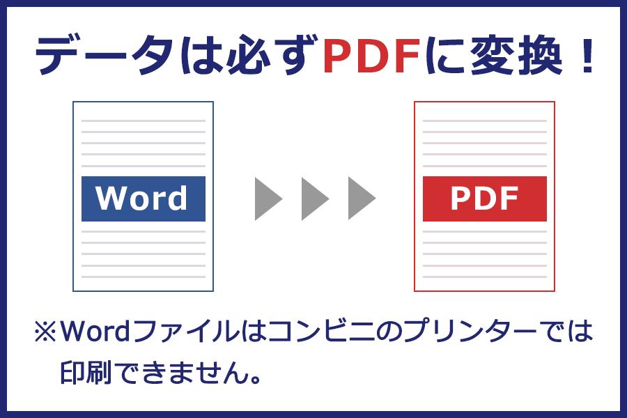 データは必ずPDFに変換を!※Wordファイルはコンビニのプリンターでは印刷できません。