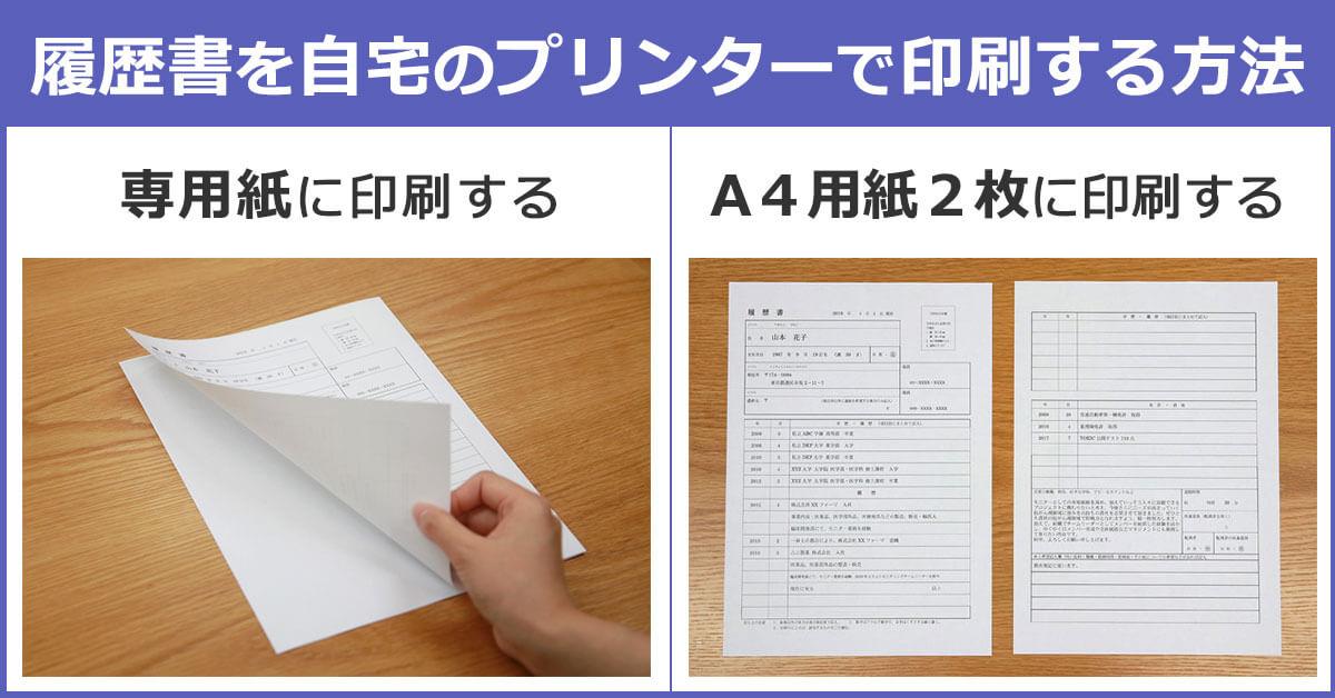 履歴書を自宅のプリンターで印刷する方法。(A)専用紙に印刷する。(B)A4用紙二枚に印刷する。