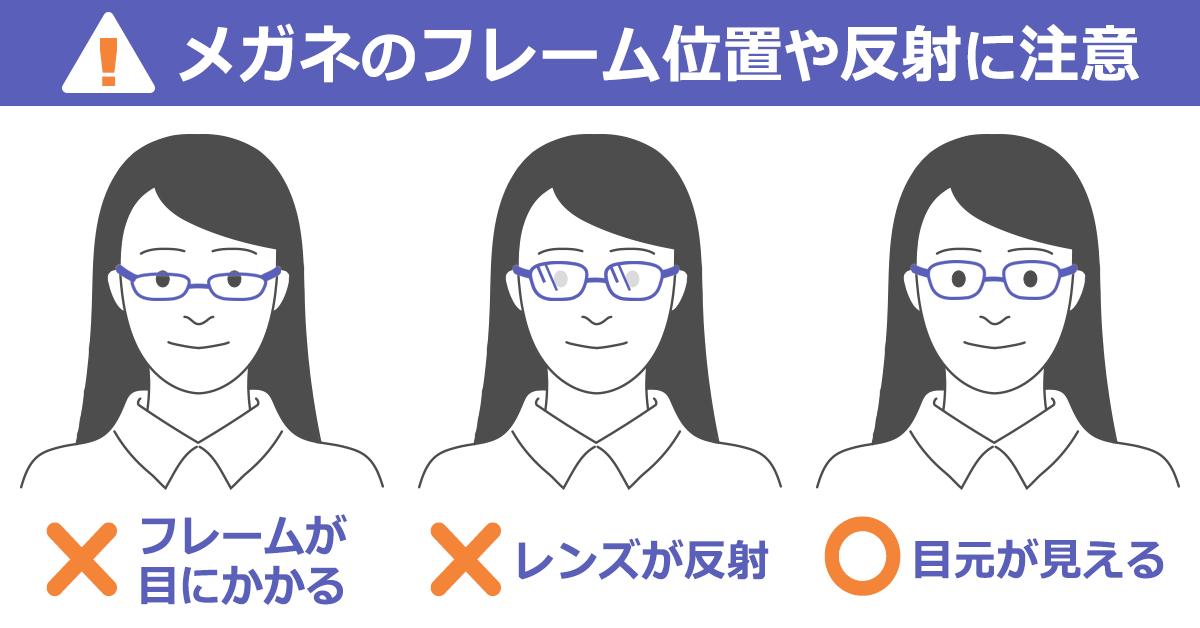 メガネで履歴書写真に映る場合のOK・NG例…OK:目元が見える。NG:フレームが目にかかっている、レンズが反射している。