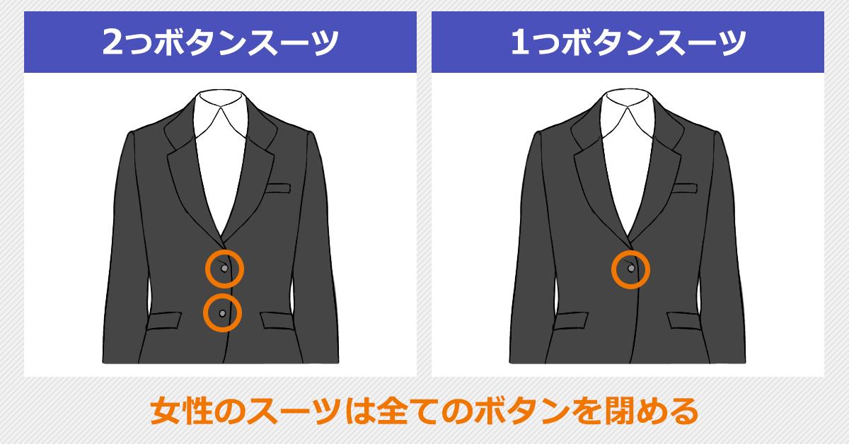 女性の2つボタンスーツと1つボタンスーツの閉め方