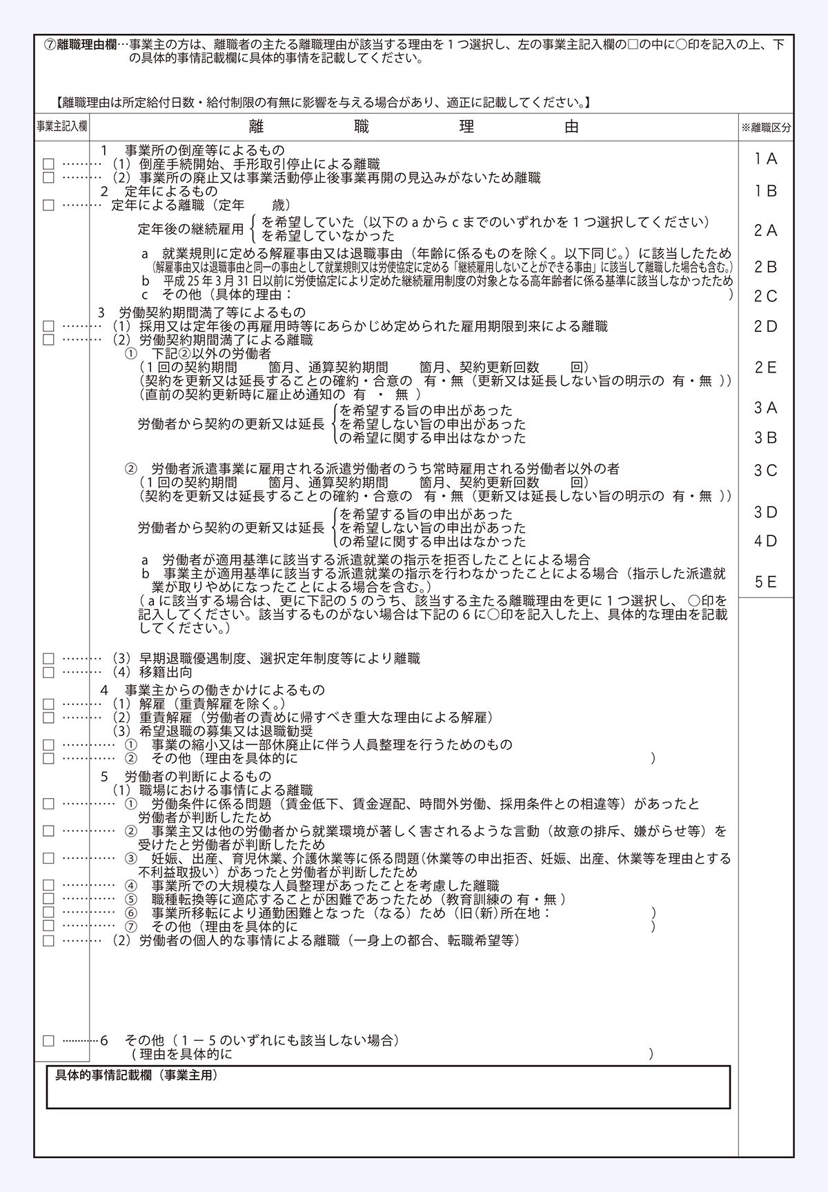離職証明書の2枚めの離職理由の欄