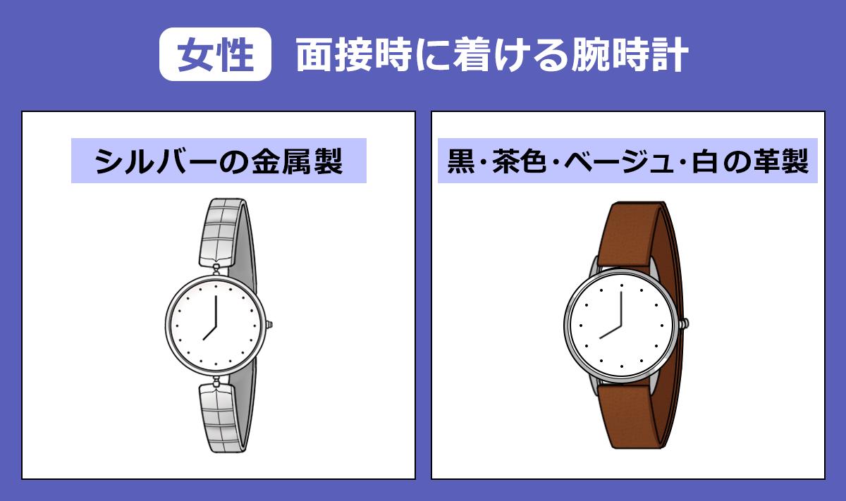 【女性】面接時につける腕時計の画像
