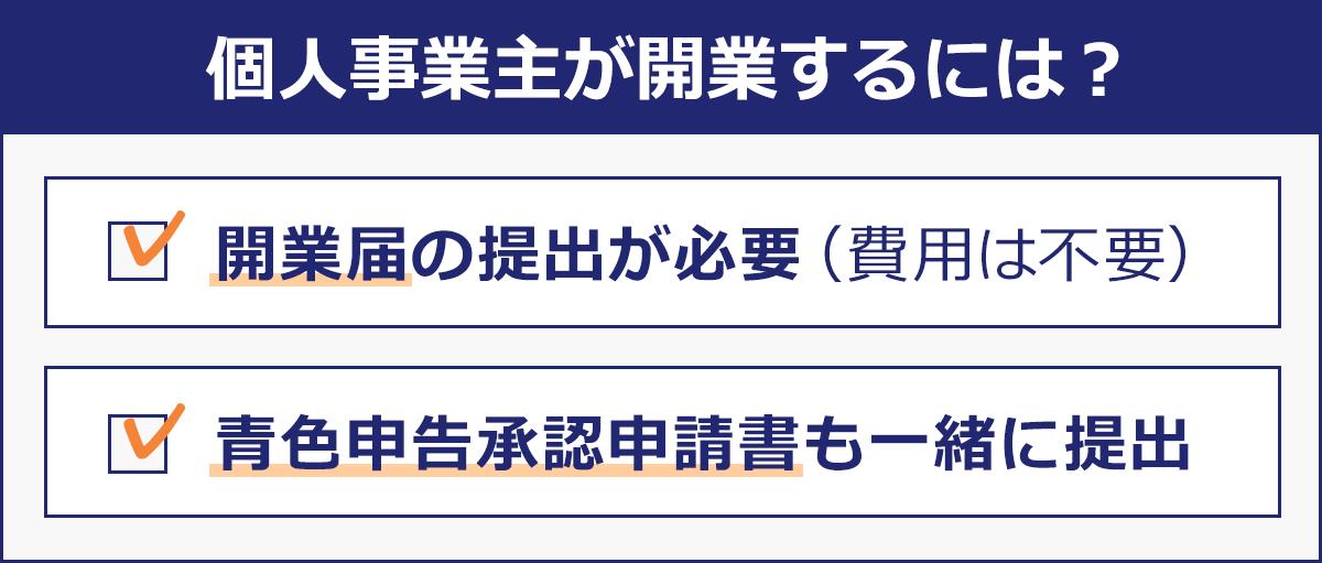 【個人事業主が開業するには?】(1)開業届の提出が必要(費用は不要)。(2)青色申告承認申請書も一緒に提出。