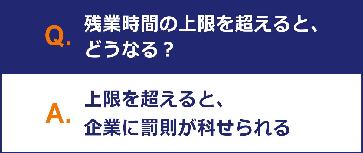 【Q:残業時間の上限を超えるとどうなる?】 A:上限を超えると、企業に罰則が科せられる