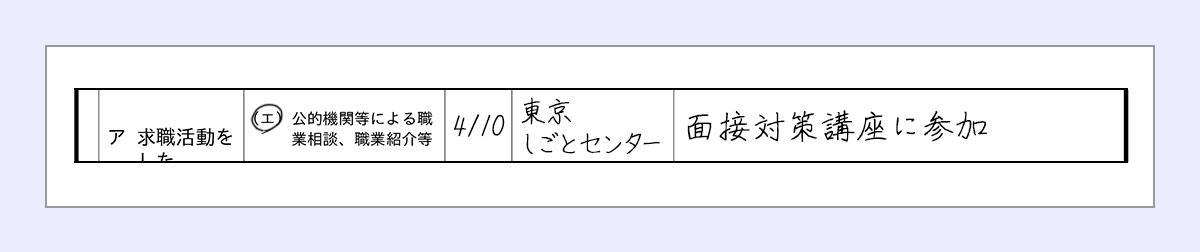 エに丸 |活動日…4/10 |利用した期間の名称…東京しごとセンター |求職活動の内容…面接対策講座に参加