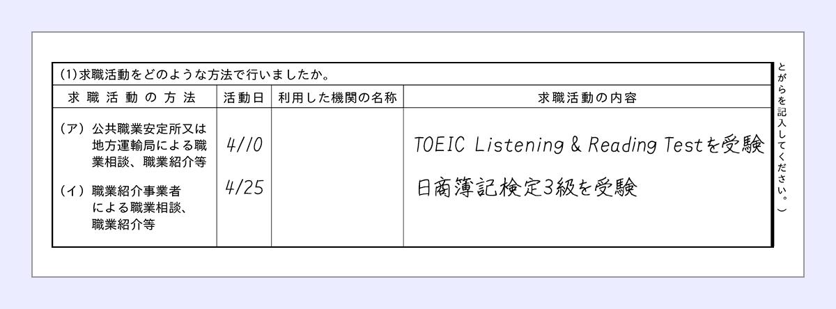 活動日…4/10 |求職活動の内容…TOEIC Listening & Reading Testを受験 |活動日…4/10 |求職活動の内容…日商簿記検定3級を受験