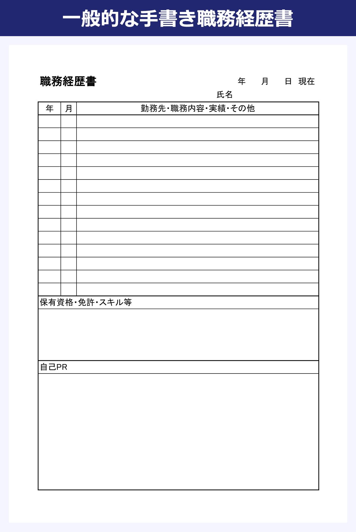 【一般的な手書き職務経歴書のサンプル】