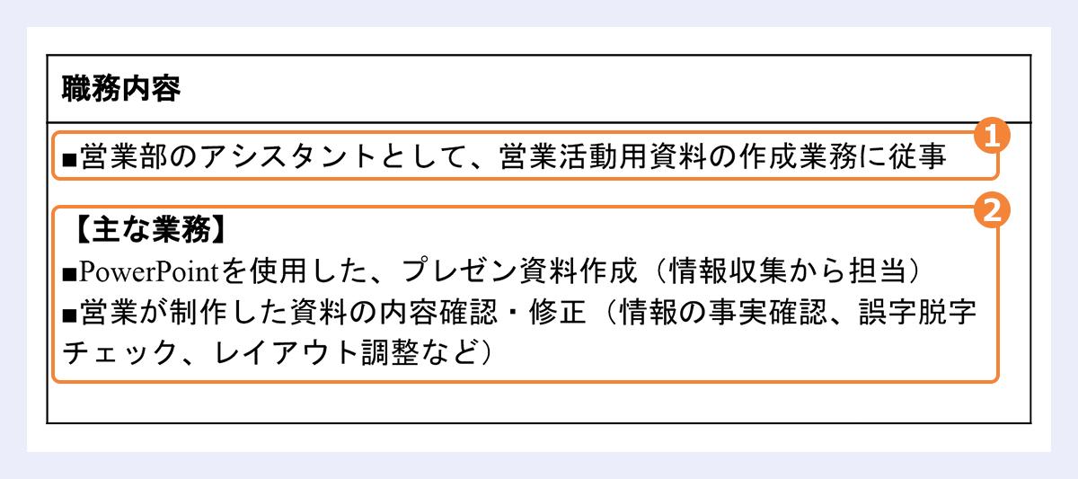 【職務内容のサンプル】 次の項目にそれぞれ番号を指定: 職務内容の見出し→(1) |主な業務→(2)