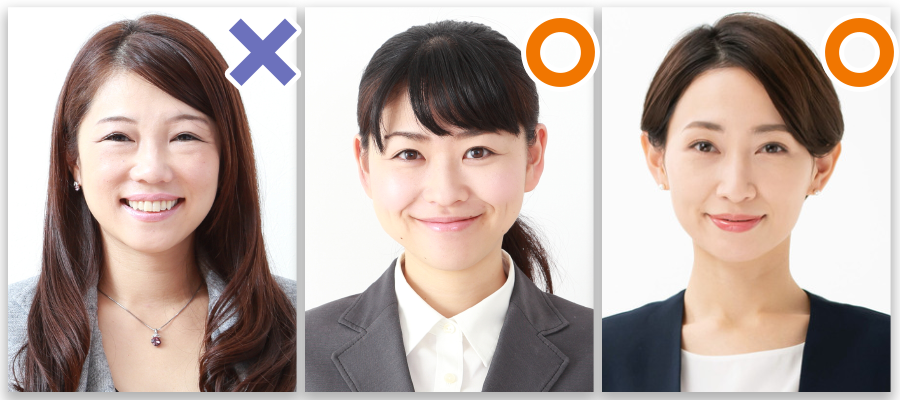 女性の証明写真(髪型のOK例・NG例)