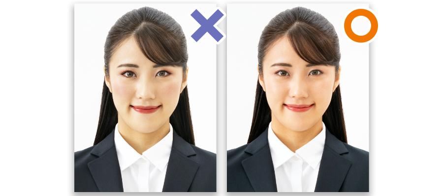 女性の証明写真(メイクのOK例・NG例)