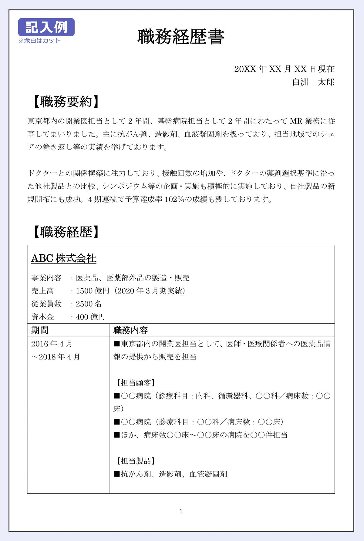 MRの職務経歴書の記入例(1ページめ) 日付:20XX年XX月XX日現在 氏名:白洲 太郎 【職務要約】 東京都内の開業医担当として2年間、基幹病院担当として2年間にわたってMR業務に従事してまいりました。主に抗がん剤、造影剤、血液凝固剤を扱っており、担当地域でのシェアの巻き返し等の実績を挙げております。 ドクターとの関係構築に注力しており、接触回数の増加や、ドクターの薬剤選択基準に沿った他社製品との比較、シンポジウム等の企画・実施も積極的に実施しており、自社製品の新規開拓にも成功。4期連続で予算達成率102%の成績も残しております。 【職務経歴】 ABC株式会社 |事業内容:医薬品、医薬部外品の製造・販売 |売上高:1500億円(2020年3月期実績) |従業員数:2500名 |資本金:400億円 (期間/職務内容) 2016年4月~2018年4月/■東京都内の開業医担当として、医師・医療関係者への医薬品情報の提供から販売を担当 【担当顧客】 ■○○病院(診療科目:内科、循環器科、○○科/病床数:○○床) ■○○病院(診療科目:○○科/病床数:○○床) ■ほか、病床数○○床~○○床の病院を○○件担当 【担当製品】 ■抗がん剤、造影剤、血液凝固剤 【実績】 ・2016年度(予算達成率:102%、売上高:○○○○万円) ・2017年度(予算達成率:102%、売上高:○○○○万円)