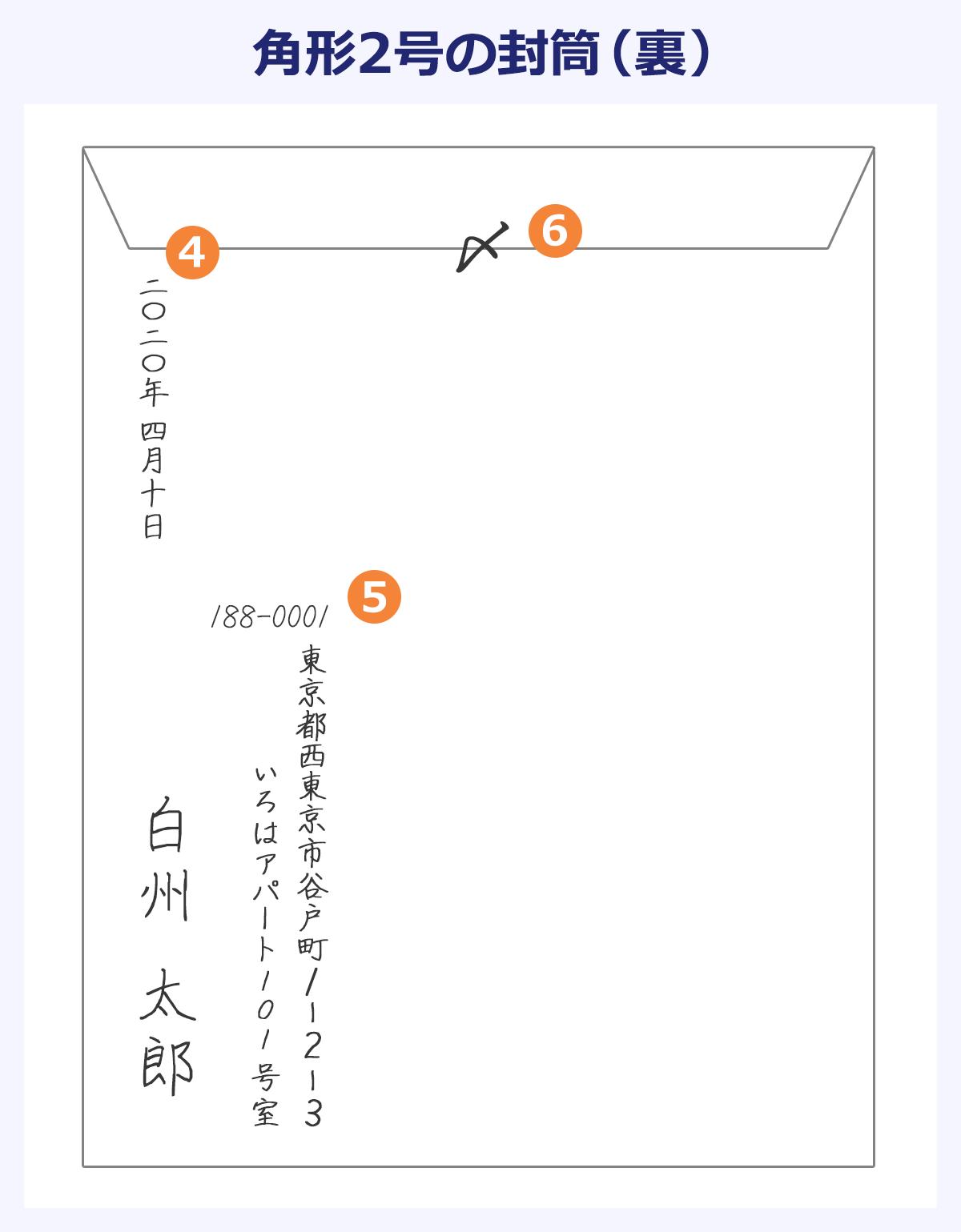 角形2号の封筒(表)の画像