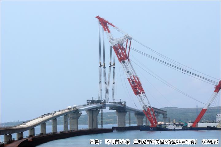 伊良部大橋の架設状況