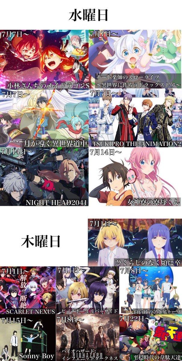 夏アニメの曜日と放送開始日一覧
