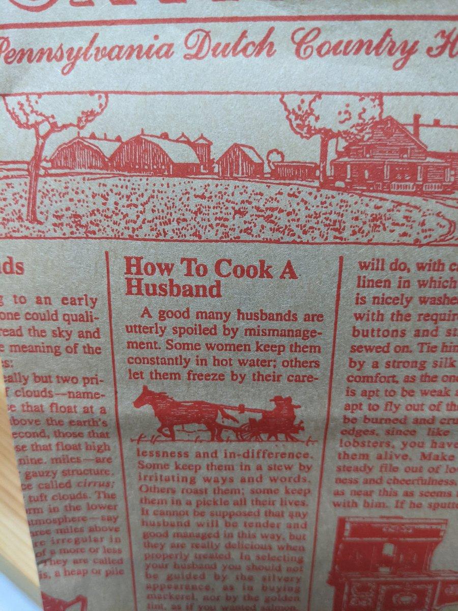 ステラおばさんのクッキーの紙袋にはどう旦那を料理するかの記載があるので良い
