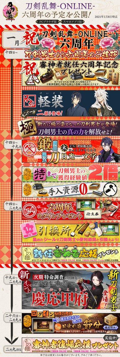2021年1月14日(木)に『刀剣乱舞-ONLINE-』はサービス開始六周年を迎えます