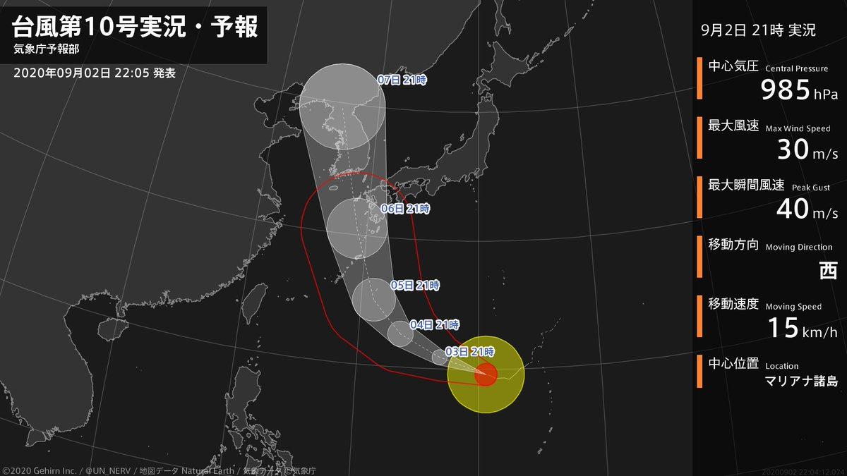 【台風第10号実況・予報 2020年09月02日 22:04】 台風第10号(ハイシェン)は、マリアナ諸島を1時間に15キロの速さで西に進んでいます