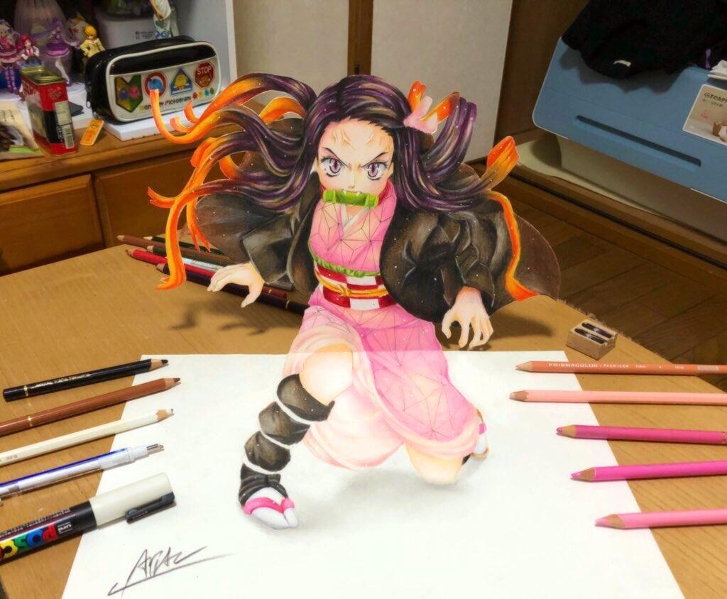 色鉛筆で禰豆子描きました🌸 #上手いと思ったらRT  #3Dアート
