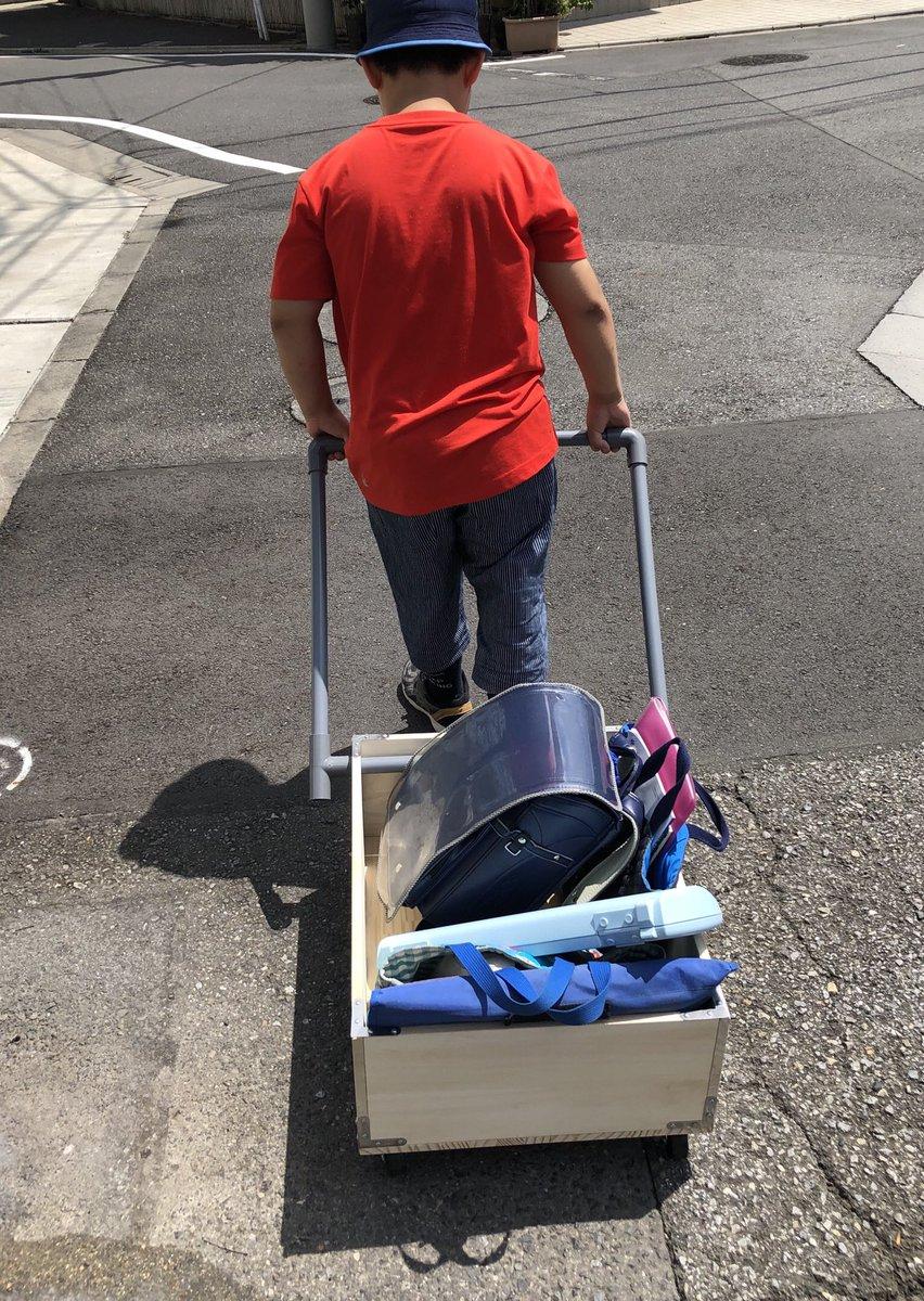 小4の息子の夏休みの自由研究 「終業式後の大量の荷物を一気にらくらく運べる人力車」