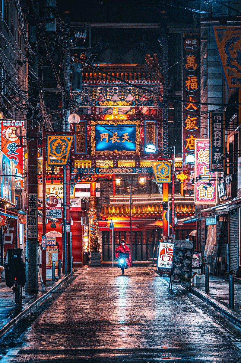 雨の日に撮る横浜中華街が別世界。