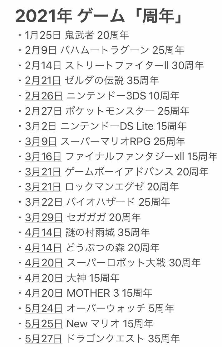 ゼルダ35周年とポケモン25周年で色々騒がれてますけど、これが2021年に節目を迎えるゲーム達です 有名どころは概ね記述したつもりです