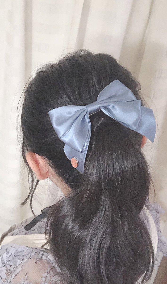 今年はじめてのノースリーブでした…触覚ありのポニーテールもいいかもかもかも🦆 Ayasaさんにプレゼントで貰ったリボン🎀💙  おやねす🛌