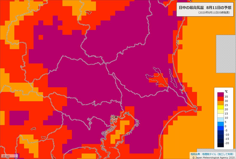 どうかお願いです,熱中症に本当に気をつけてください.今日11日は命に関わる危険な暑さになります.最高気温は熊谷・さいたま・前橋・福島38℃,東京都心・秩父・富山・豊岡・米子37℃,水戸・土浦・宇都宮・名古屋・大阪・京都・山形・八戸36℃と西~北日本で広く猛暑日に.必ず適切な暑さ対策を