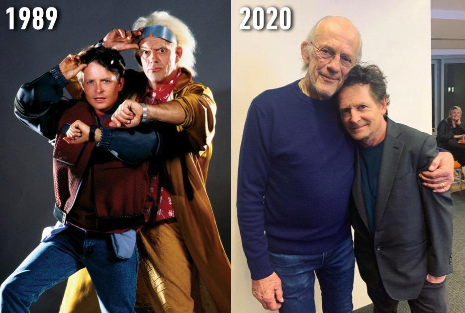 【I love Back to the Future】 主演の2人の映画公開時と現在の写真(感涙)  ドクを演じたクリストファー・ロイドは現在81才で、パート1の映画公開時はいくつだったのかといえば・・・なんと46才