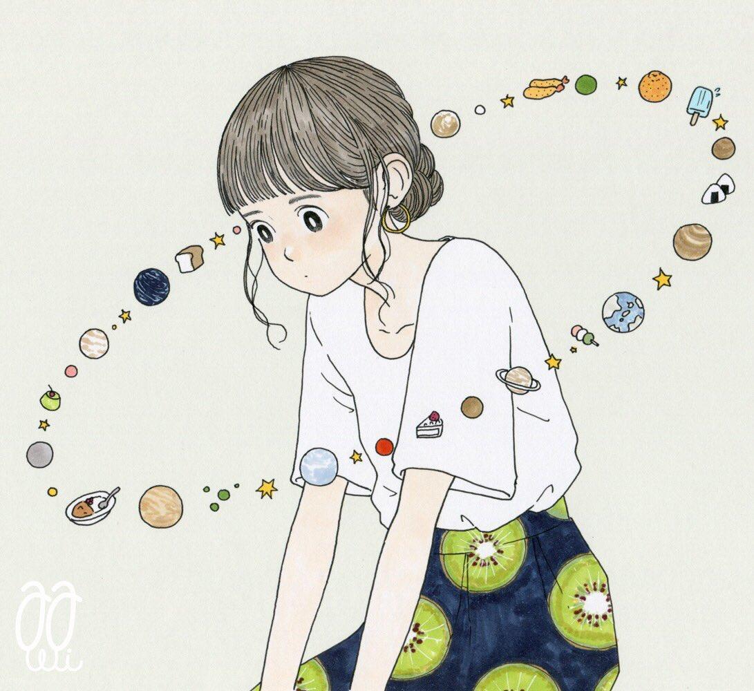 イラスト 壮大な宇宙の事を考えているが時々食欲が邪魔をする