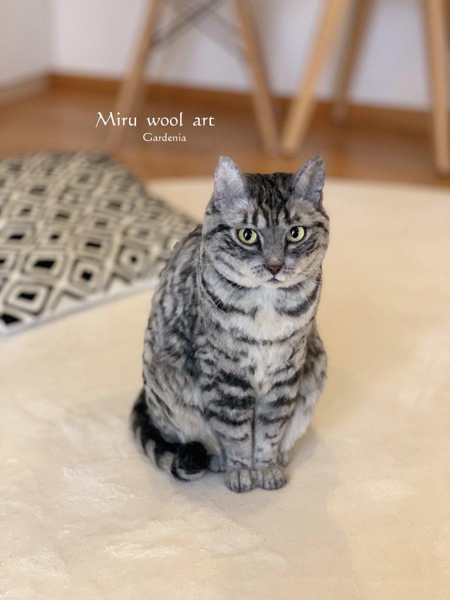 実物大羊毛フェルトのサバトラの静止画バージョンで~す(≧▽≦)✨サイズ比較でうちのぽっちゃんに協力してもらいました💛 #needlewook #羊毛フェルト  #猫 #woolart  #Cat