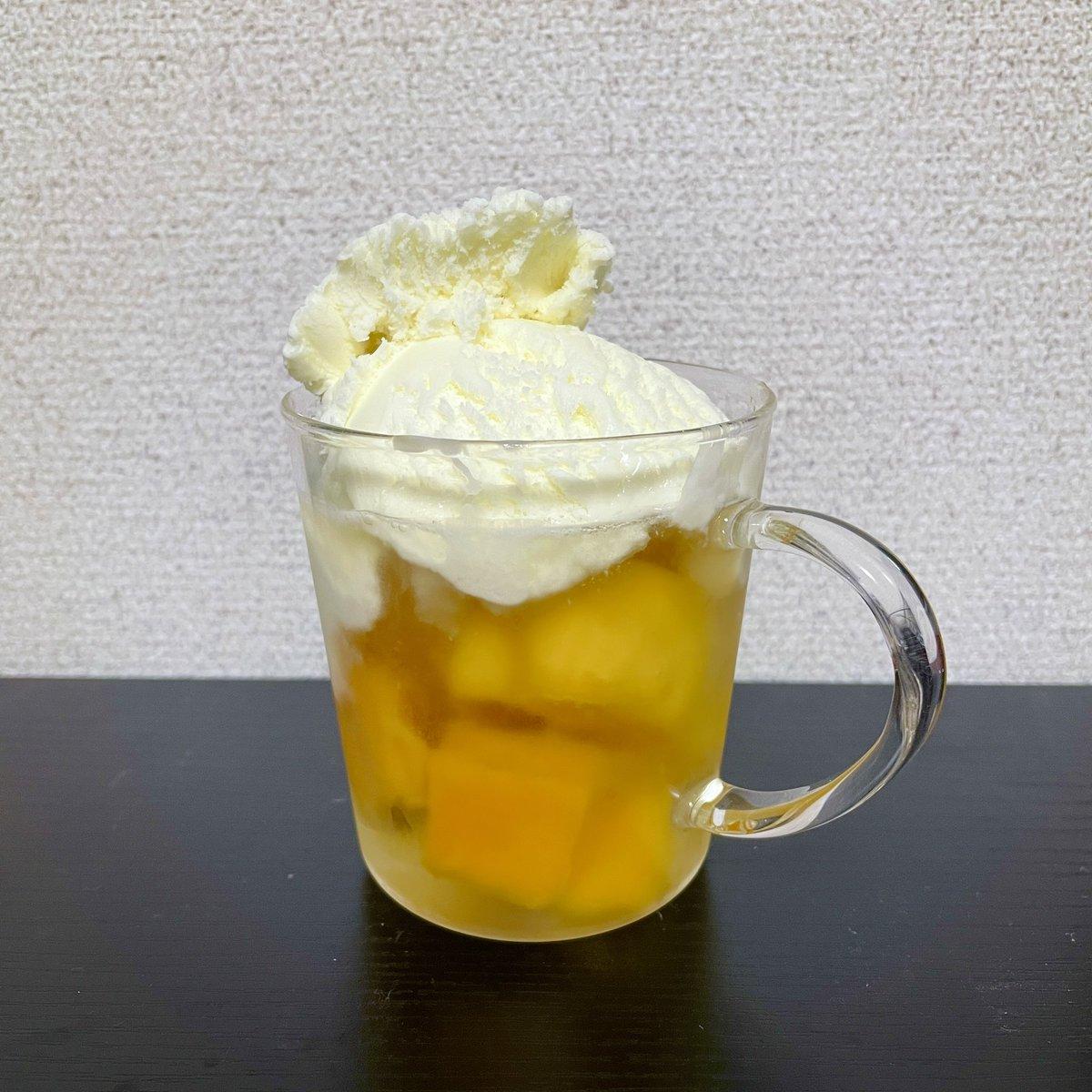 え…はちみつ酒に氷代わりの冷凍マンゴーを入れてアイスを載せれば最高ってコト…