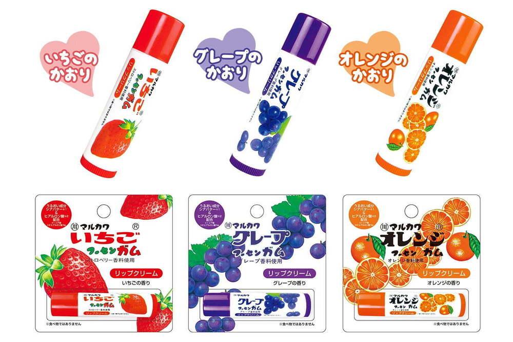 """""""懐かしの""""人気駄菓子「マルカワ フーセンガム」がリップクリームに、苺やオレンジの香り付き -"""
