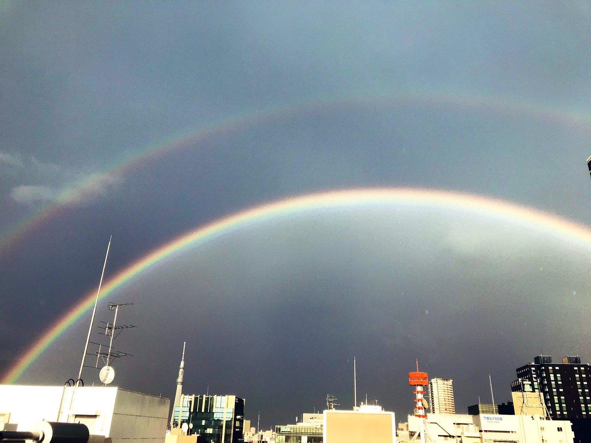 ゲリラ豪雨明けに虹っっ🌈 しかもよく見ると二重…!?  @秋葉原